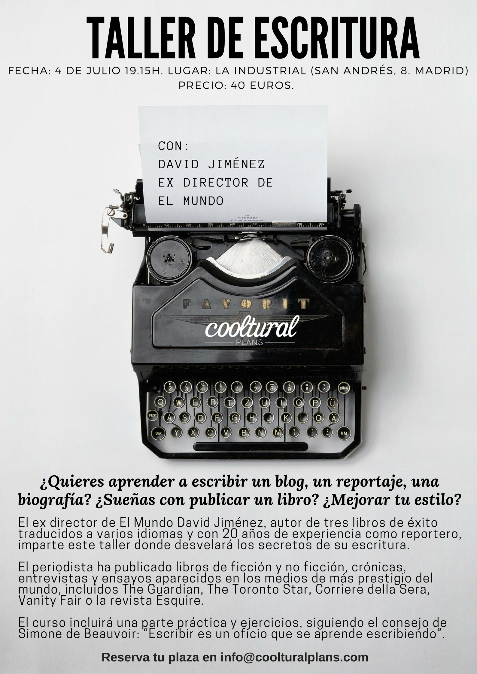 Cooltural Plans taller de escritura